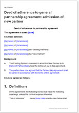 Sample page from the new partner admission agreement