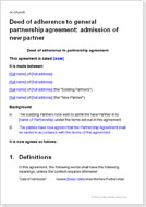 First page of the new partner admission agreement