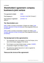 Shareholders Agreement Template For A JV