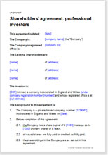 Sample page from the investors shareholders agreement