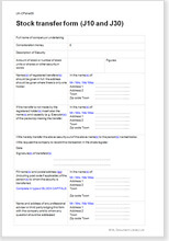 Sample page from the share transfer form