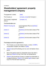 Sample page from the property management company shareholders agreement
