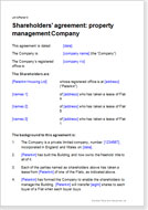 First page of the property management company shareholders agreement