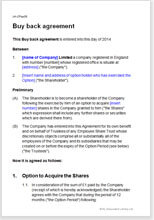 Sample page from the shares buy back agreement