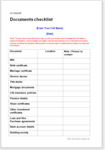 Sample page from the end of life documents checklist