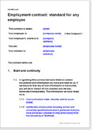 First page of the standard employment contract