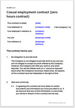Zero hours contract template to employ casual workers for 0 hours contract template