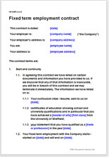 Sample page from the fixed term employment contract
