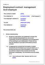 Sample page from the manager employment contract