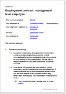 First page of the manager employment contract