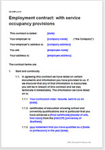 Sample page from the employment contract with service occupancy