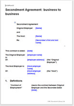 Sample page from the secondment agreement