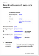 First page of the secondment agreement