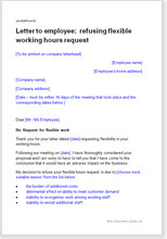 Sample page from the letter refusing flexible working hours request