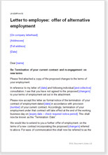 Sample page from the letter offering alternative employment