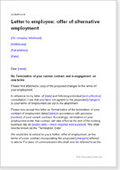 letter to employee offer of alternative employment