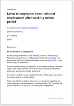 Sample page from the letter terminating employment after notice period