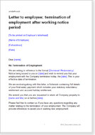 First page of the letter terminating employment after notice period