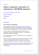 First page of the letter terminating employment