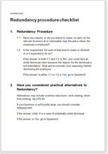 Sample page from the redundancy procedure checklist