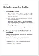 First page of the redundancy procedure checklist