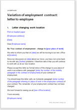 Sample page from the letter changing terms of employment