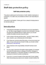 Sample page from the staff data protection policy