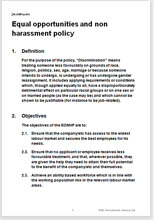 Sample page from the equal opportunities and non harassment policy