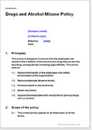 First page of the drug and alcohol misuse policy