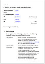 Sample page from the ip licence agreement for a specialist system