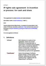 Sample page from the invention rights sale agreement for cash and shares