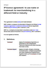Sample page from the trademark licence agreement