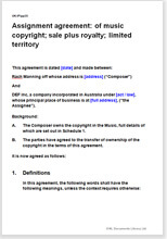 Sample page from the copyright assignment agreement