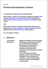 Sample page from the product development agreement
