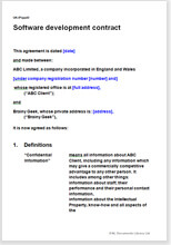 Sample page from the software development agreement
