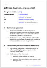 Sample page from the development agreement for software