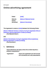 Sample page from the website advertising agreement