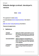 First page of the website design contract