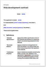 Sample page from the web development contract