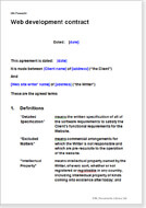 First page of the web development contract