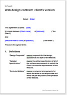 First page of the web design contract