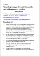 Sample page from the website privacy notice for estate agents