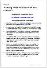 vesting certificate template - statutory declaration template with completed examples