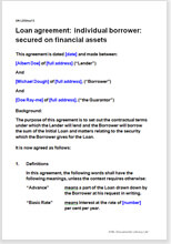 Sample page from the loan agreement secured on financial assets