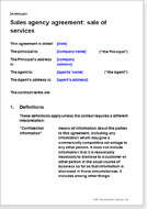 First page of the sales agency agreement