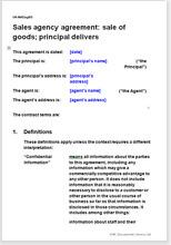 Sample page from the sales agency agreement for goods