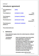 Sample page from the introducer agreement