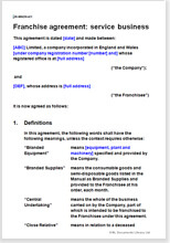 Sample page from the service business franchise agreement