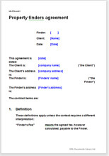 Sample page from the property finders agreement