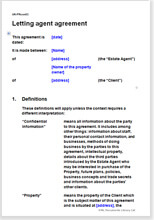 Sample page from the letting agent agreement